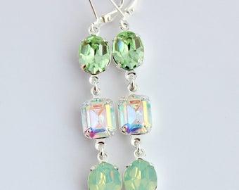 Chrysolite earrings, Green Swarovski earrings, mint earrings, green earrings, spring wedding, Chrysolite opal earrings, AB earrings, Aurora