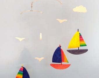 SAILBOAT MOBILE,C21,Wood,Fabric Sails,Rainbow,Clouds,Baby Mobile,Kinetic,Sailboat,Nursery Decor,Mobile,Baby Shower Gift,Baby Gift,Nautical