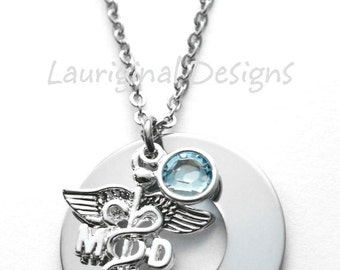 Doctor necklace - MD necklace - silver plated charms - hand stamped stainless steel