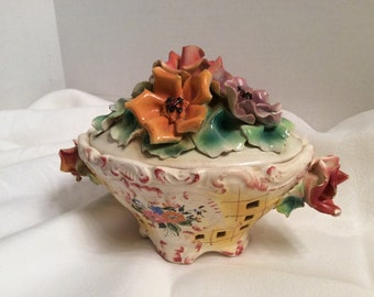 Antique Italian  Capodimonte  Reticulated Dish Applied Bouquet