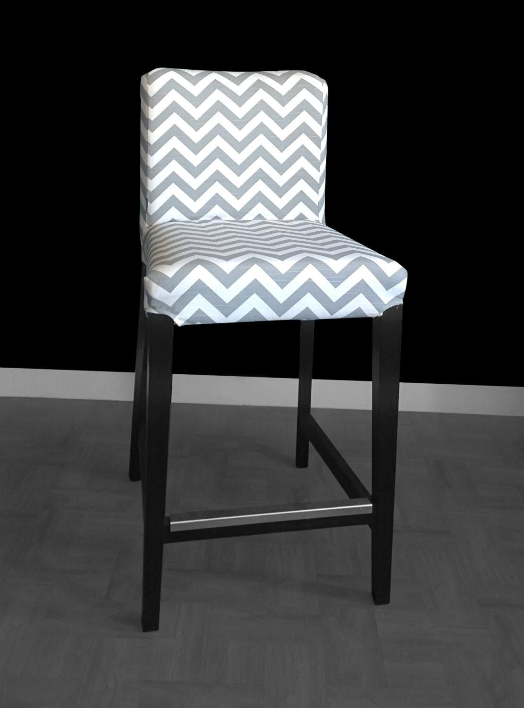Pair Of Ikea Henriksdal Bar Stool Chair Covers Grey Zig Zag