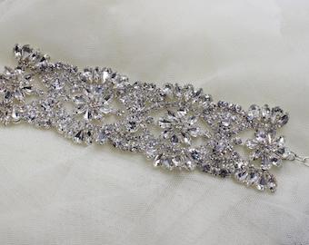 Cuff, Silver bracelet, Crystal Cuff, Crystal Bracelet, Bridal Bracelet, Wedding Jewelry, Bridal Cuff. Classic old Hollywood Rhinestone Cuff