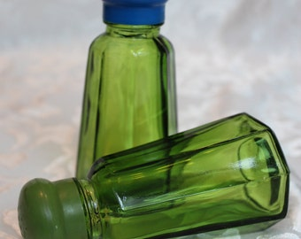 Green Glass Salt and Pepper Shakers Made in Japan