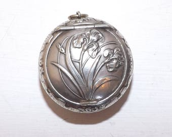 Antique Art Nouveau early 1900s French solid silver chatelaine powder compact pendant iris flower pattern
