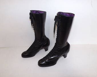 Antique Victorian black leather lace up ankle boots shoes excellent condition