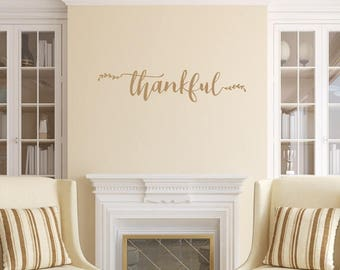 Thankful Wall Decal, Vinyl Wall Decal, Thankful Script, Vinyl Lettering, Farmhouse Decor,  22603