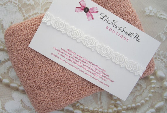 Blush Stretch Knit Wrap AND/OR White Embroidered Rose Trim Headband, baby photo shoot, muted colors, photographer, by Lil Miss Sweet Pea 51
