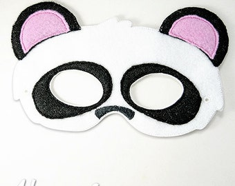 Panda Bear Mask Embroidery Design, panda mask, machine embroidery, ITH mask, in the hoop mask, embroider mask, 5x7, 6x10, halloween costume