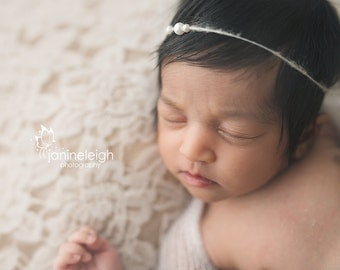 Dainty Newborn Headband Simple Baby Headband Simple Newborn Headband Simple Pearl Tie Back Headband Baby Halo Newborn Simple Photo Prop