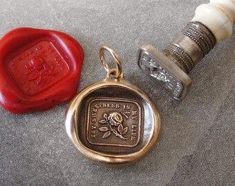 Rose and Bee Wax Seal Charm - antique wax seal jewelry pendant Thy Sweetness Is My Life by RQP Studio