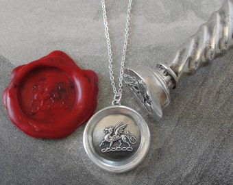 Dragon Wax Seal Necklace - Protection - antique wax seal charm jewelry heraldic mythical beast by RQP Studio