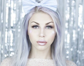Ice Blue With Tiny White Star Print Bow Headband - Christmas - Festive