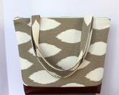 Basic Tote - gray ikat - everyday tote - vegan leather