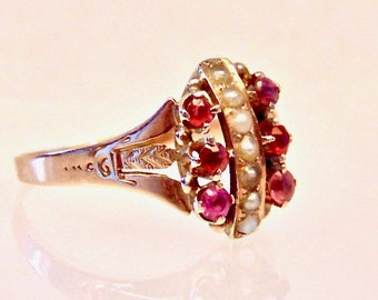 Antique Victorian Ruby Red and Pearl 10K Yellow Gold Ring, 1800's Ring