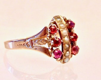 Sale! Antique Victorian Ruby Red and Pearl 10K Yellow Gold Ring, 1800's Ring