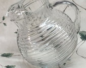 Vintage Manhattan Glass Pitcher ,ribbed glass pitcher, tilt bottom pitcher, Manhattan pitcher, vintage pitcher, Mid Century 48 oz.