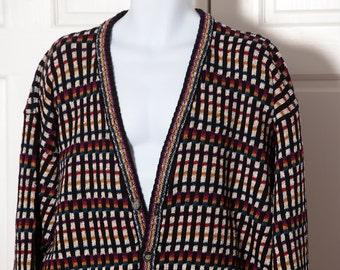 Vintage 80s Colorful Men's Cardigan - ETCHINGS - XL
