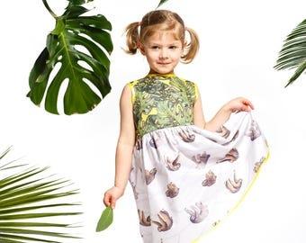 Handmade girls' sloth and monstera dress, girls' summer dress