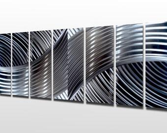 Silver Wall Art Panels Large Metal Wall Art Sculpture Contemporary Metal  Decor Multi Panel Metal Art