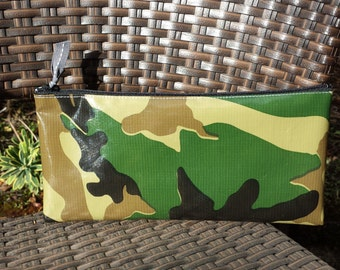 Zippered Oil Cloth Pouch--Green Camouflage--Purse Organizer--pencil pouch teacher gift