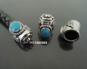 Antique Silver End Cap without Loop and Hole 7mm - 2pcs Silver with Light Blue Bead Flower Head End Caps 12.5mm x 10.5mm ( Inside 7mm )