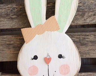 Lilly the Bunny Wood Easter Sign