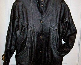 Vintage Ladies Oversized Black Leather Jacket by Worthington Small Only 32 USD