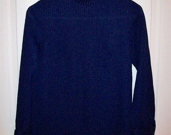 Vintage 1960s Ladies Blue Rib Knit Blouse by Bodin Knits Small Only 6 USD