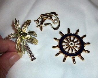 Vintage Nautical Brooch Pins Palm Tree, Dolphin & Ships Wheel Silver and Gold All 3 Only 5 USD