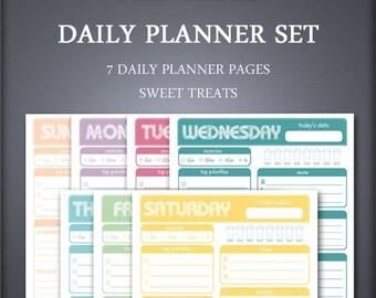 Printable Daily Planner Set - Weekly Planner Set - Sweet Treats - Printable Planner Set