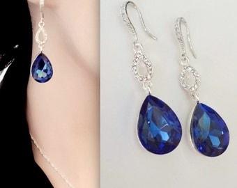 Blue sapphire earrings, Long crystal teardrops - Sterling silver ear wires - Wedding earrings ~ Brides earrings ~ Something blue -