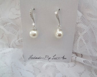 Pearl drop earrings - Sterling silver ear wires - Cubic Zirconias - Bridal Jewelry - Bridesmaids - Elegant - Classic jewelry - Gift, DI