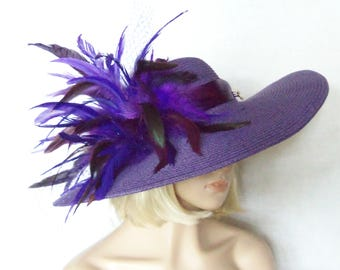 Ladies Purple Hat, Extra Wide Brim Feathered Hat, Kentucky Derby Hat, Garden Party Hat or Victorian Tea Party