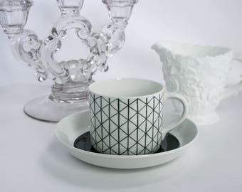 Mid Century Modern, RORSTRAND, VENEZIA Geometric Design, Sweden, Minimalist Kitchen, Modernist, Cup and Saucer, Three Crowns