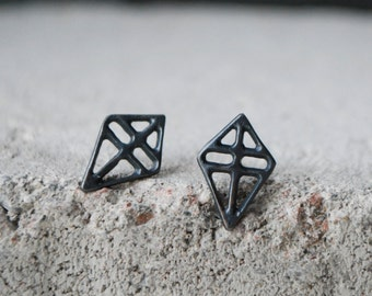 RUUTI Earrings Dark Ox Sterling silver // brushed silver // grey black ox recycled silver hand formed studs