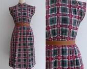 Vintage 80's 'Tis The Season' Christmas Tartan Plaid Dress M or L