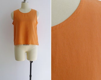Vintage 80's 'Mandarin Orange' Basic Cotton Tank Top S or M