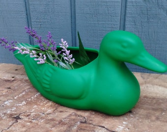 Vintage Ceramic Duck - Duck Planter - Green Duck