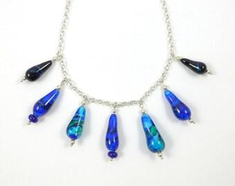 Tear drop blue lampworked glass bead necklace