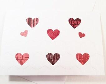 "Handmade, Valentine's Day Card, White, Hearts, Handmade, Blank, Hexagons, 4"" x 6"""