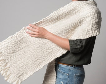 Textured Blanket scarf, Organic wool woven wrap, White undyed wool, Scarf to dye by Texturable