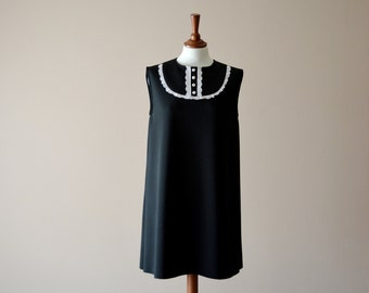 Black and white tunic dress, bib dress, black dress, aline dress, 60s dress, mini dress, Dolly dress, bibbed dress, vintage inspired dress