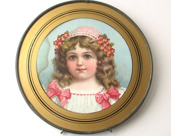 Framed Victorian Young Lady Print, round brass frame, rare, adorable girl with flowers and bows, blue eyes, round print, brass frame