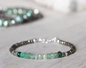 Emerald Bracelet - May Birthstone Bracelet - Ombre Jewellery - Green Emerald Jewellery - Ombre Gemstone Bracelet