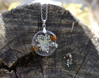 Queen Annes Lace Pressed Flower and Real Ladybug Resin Pendant