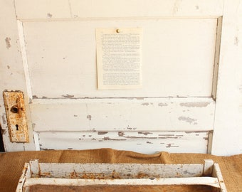 Vintage White Rusty Metal Tool Box Tray with Handle