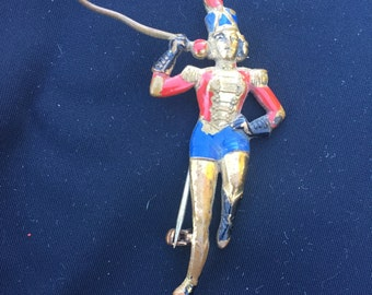 Vintage Baton Parade Red and Blue Girl Bronze Pin