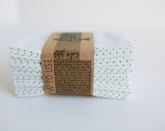 Cloth Wipes Diaper Bag Wipes  Sustainable Unpaper Napkins- Set of 20 -  Double Layer  (Green Little Dots)