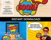 INSTANT Photo Booth Signs - Superhero Teacher Appreciation and Birthday Printables
