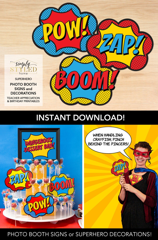 Superhero Classroom Decor Printables ~ Instant photo booth signs superhero teacher appreciation and